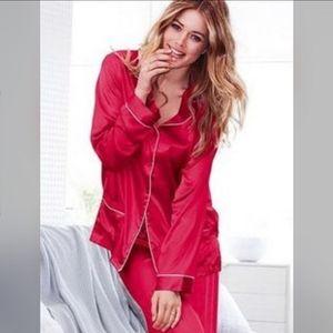 Red Silk Pajama Top